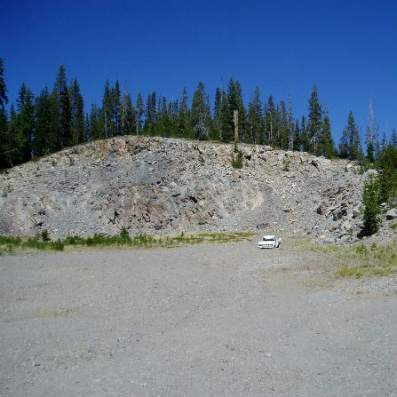 Pole creek quarry with old car