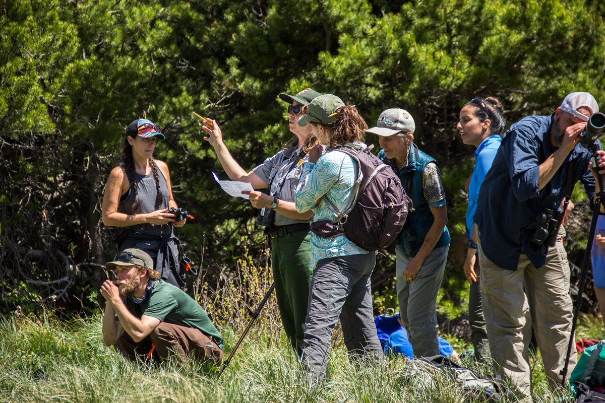 Park ranger explains survey form while surrounded by citizen scientists.