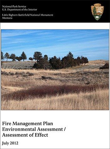 Cover page to LIBI Fire Management Plan with NPS banner and grassland photo