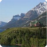Prince of Wales hotel sits on mountainside in Waterton.