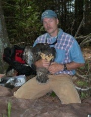 a researcher kneeling on the ground holds a young eagle in his hands