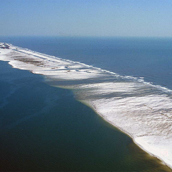 Aerial photo of a barrier island.