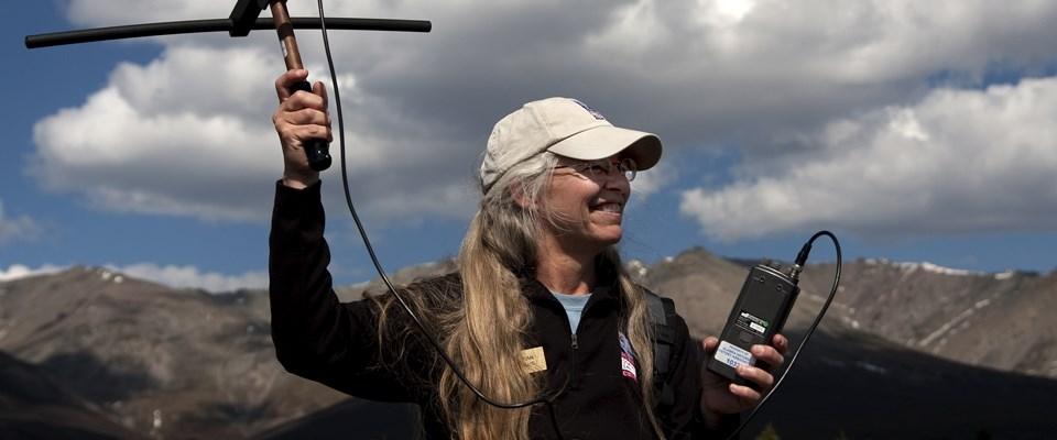 an mslc staff member holds a radio antenna up outside