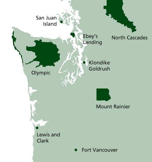Map of North Coast and Cascades Research Learning Center Parks