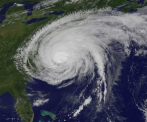 Satellite view of Hurricane Irene hitting the Southeastern United States