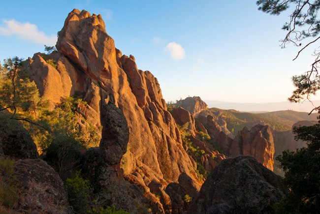 Stone pinnacles glowing in the late afternoon sun at Pinnacles National Park