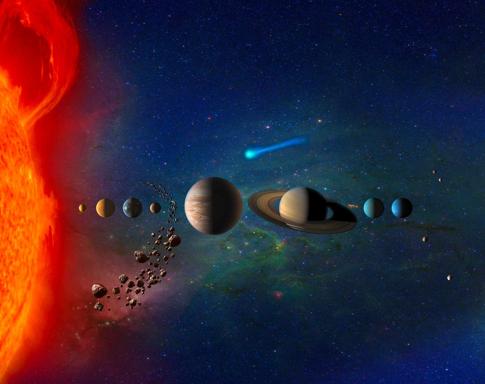 an artistic rendering of our solar system