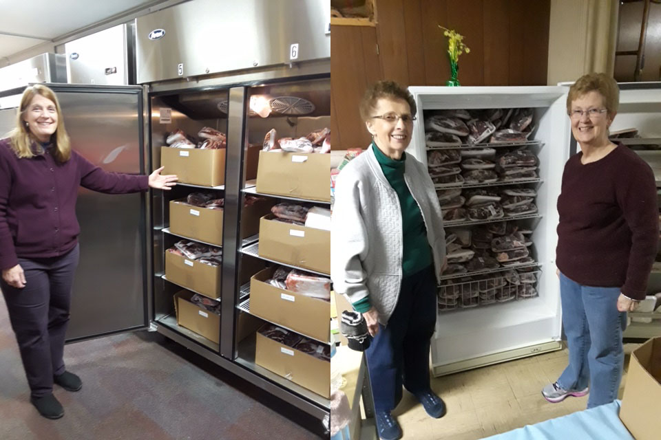 Two images. On left a woman gestures to a freezer filled with venison. On right, 2 smiling women stand before a filled freezer.