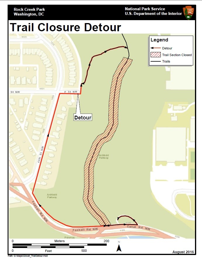A detailed map of trail closure detours in Rock Creek Park.