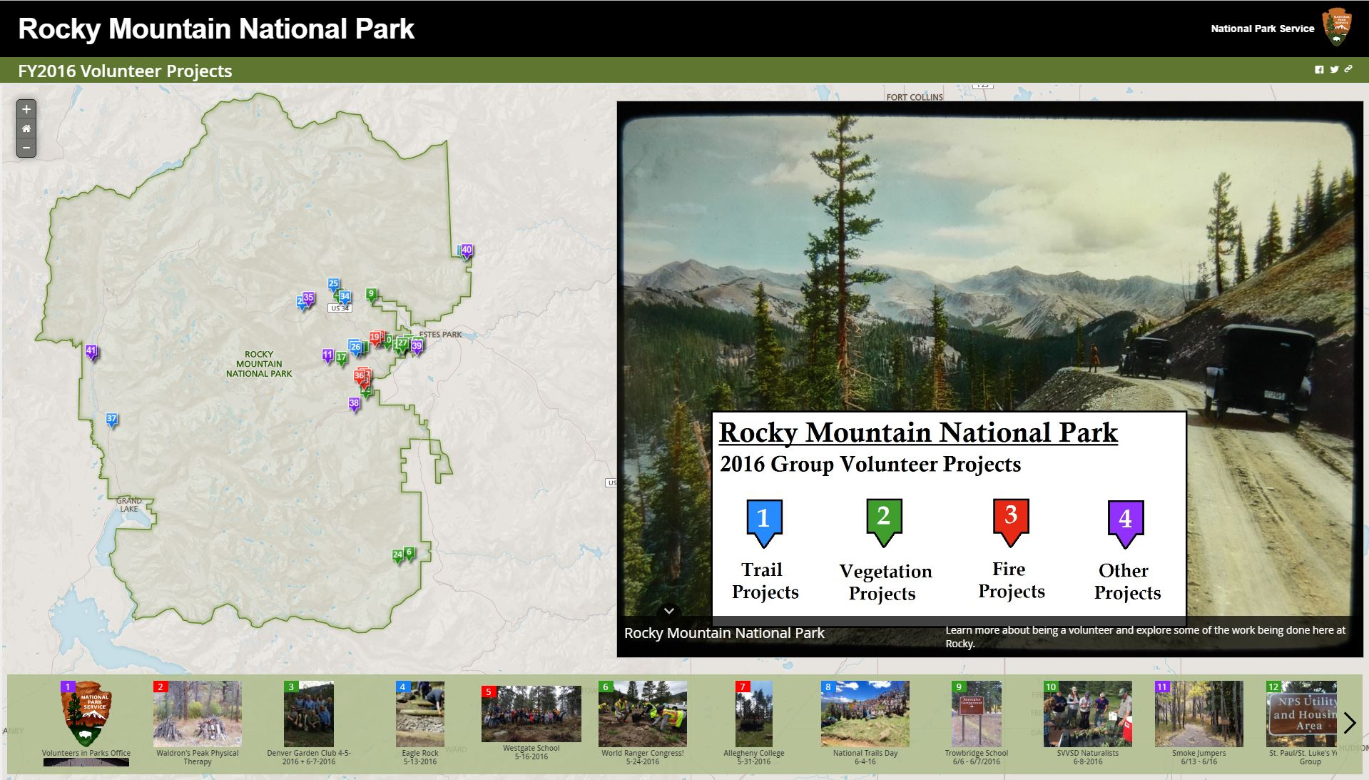 Groups Can Volunteer At Rocky Rocky Mountain National Park - Us national parks interactive map