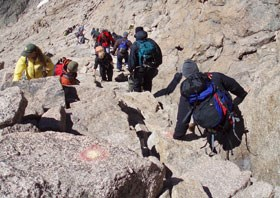 Visitors on the Longs Peak trail