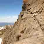 The Narrows on Longs Peak crosses a sheet verticle rock face on a narrow ledge