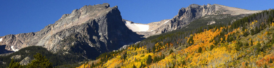 Aspen trees show their orange and yellow fall color with Hallet Peak and Flattop Mountain looming in the background.