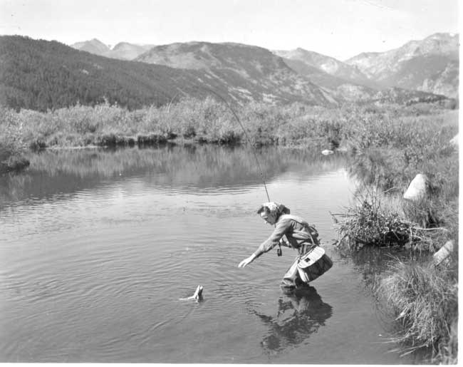 a photo of fishing in Moraine Park 1940