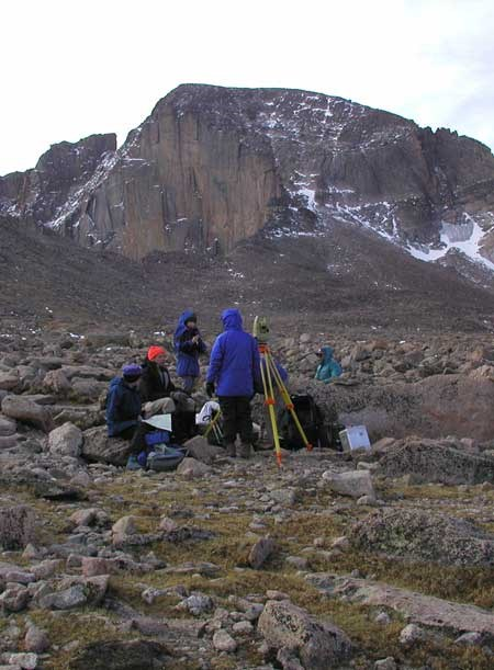 a photo of glacier researchers on the Boulderfield