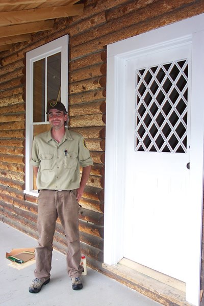 a photo of restoration of door of historic McGraw Ranch