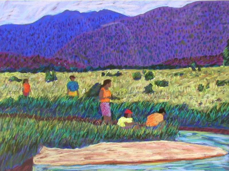 a painting of people enjoying Moraine Park