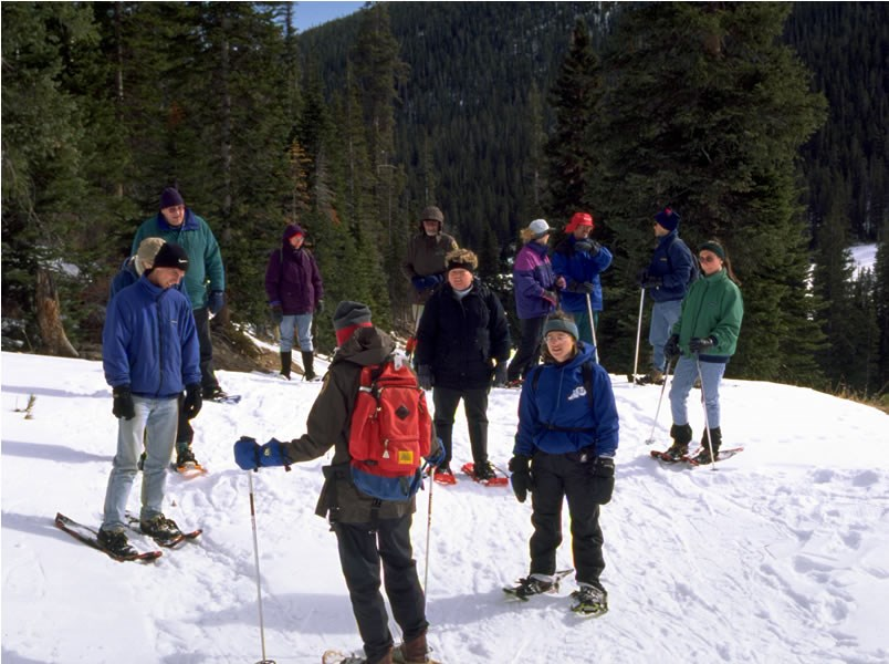 a photo of a snowshoe tour