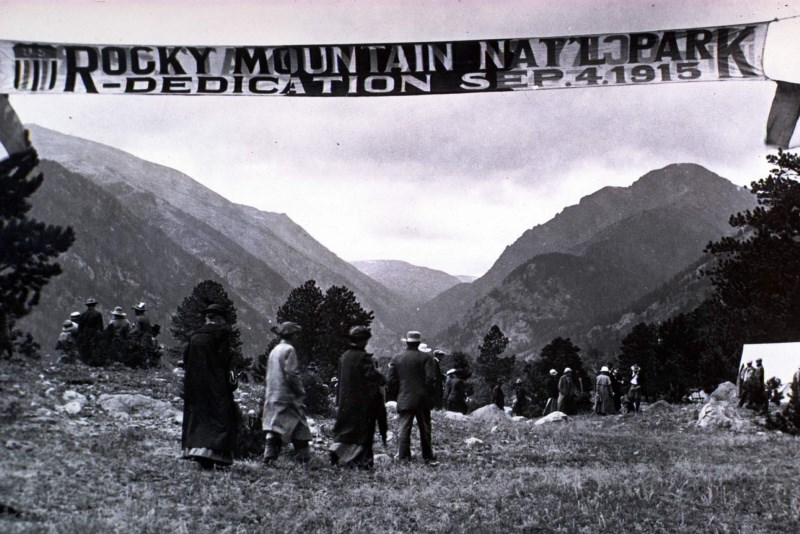 an historic photo of the dedication of Rocky Mountain National Park