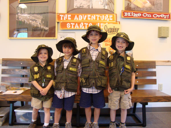Junior Rangers Having fun earning their badges at the Headquarters.