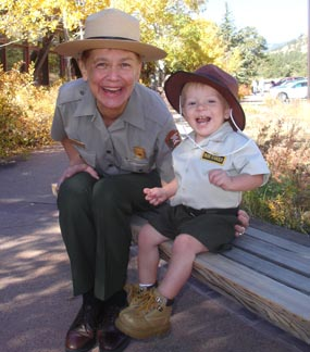 Photo park ranger and future junior ranger at Rocky Mountain National Park