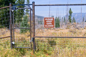 Gate on an elk exclosure fence