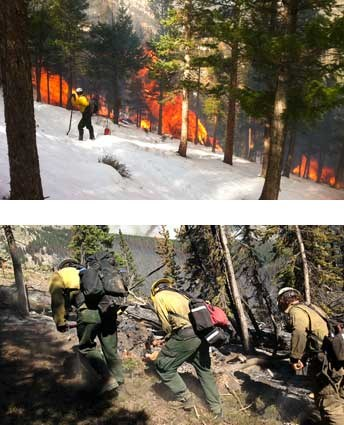 Winter pile burning and firefighters responding to an active wildfire.