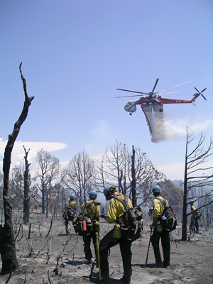 Hotshot firefighters watch a helicopter drop fire retardant