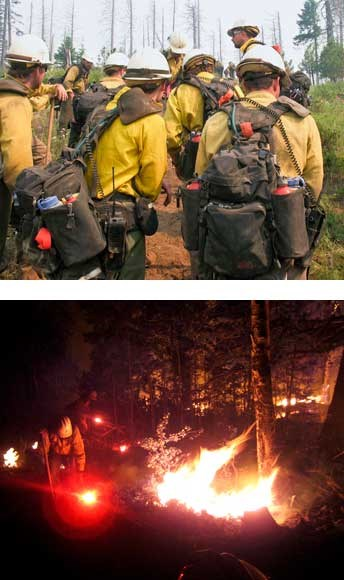firefighters during the day and night