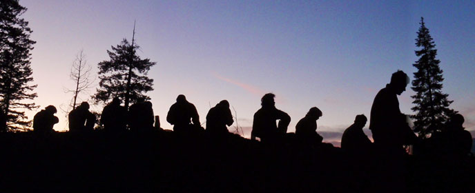 Alpine Hotshots in evening silhouette