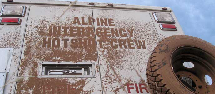 Hotshot fire engine covered in dust