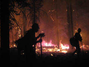 Hotshot firefighters fighting a fire at night