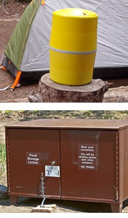 backcountry bear food canister and campground storage locker