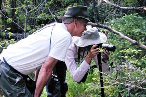 Lead Investigator Rich Bray and Volunteer Eric Raun look for butterflies in 2001.