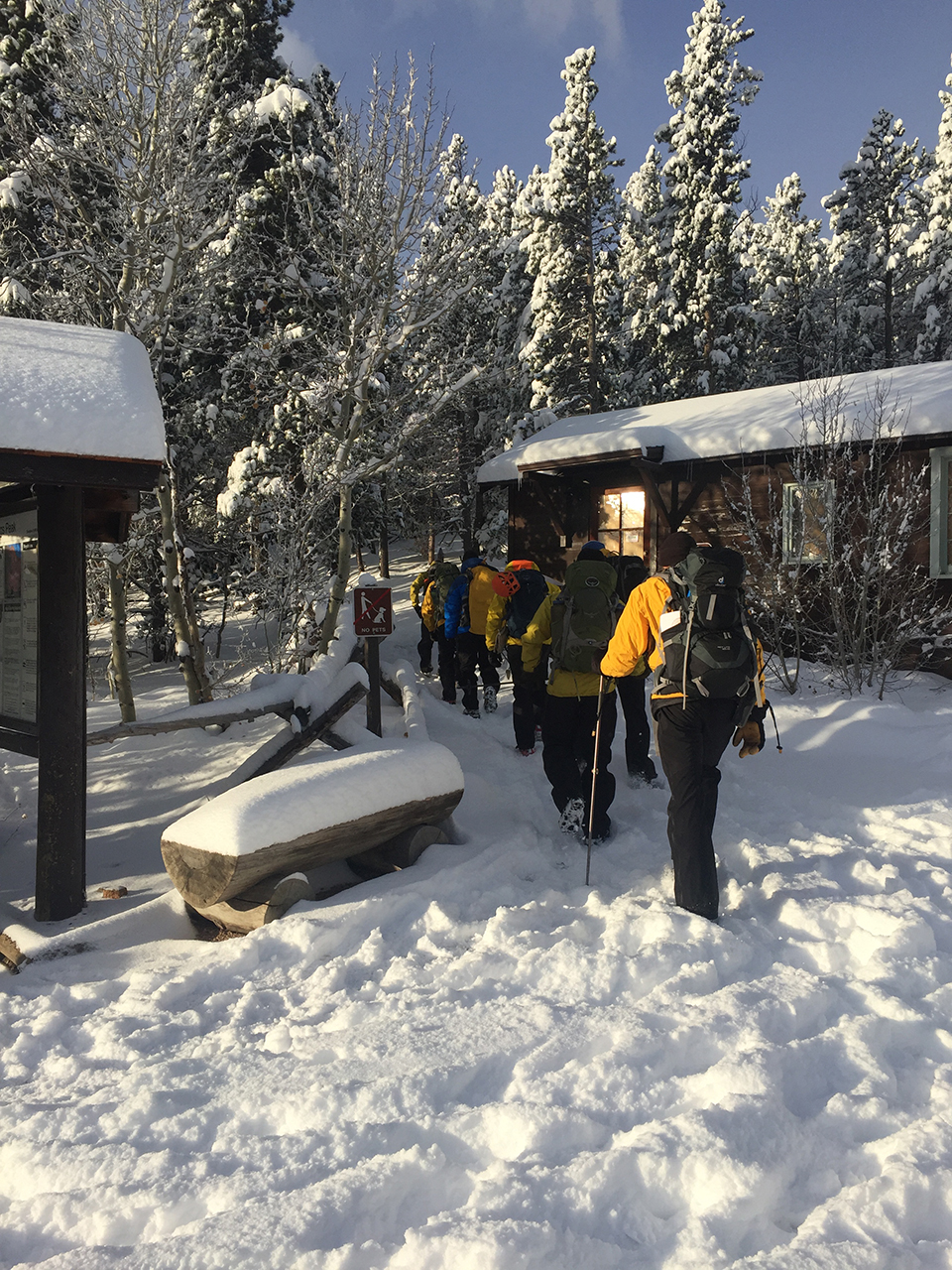 Park rangers set out over snow on their search and rescue mission