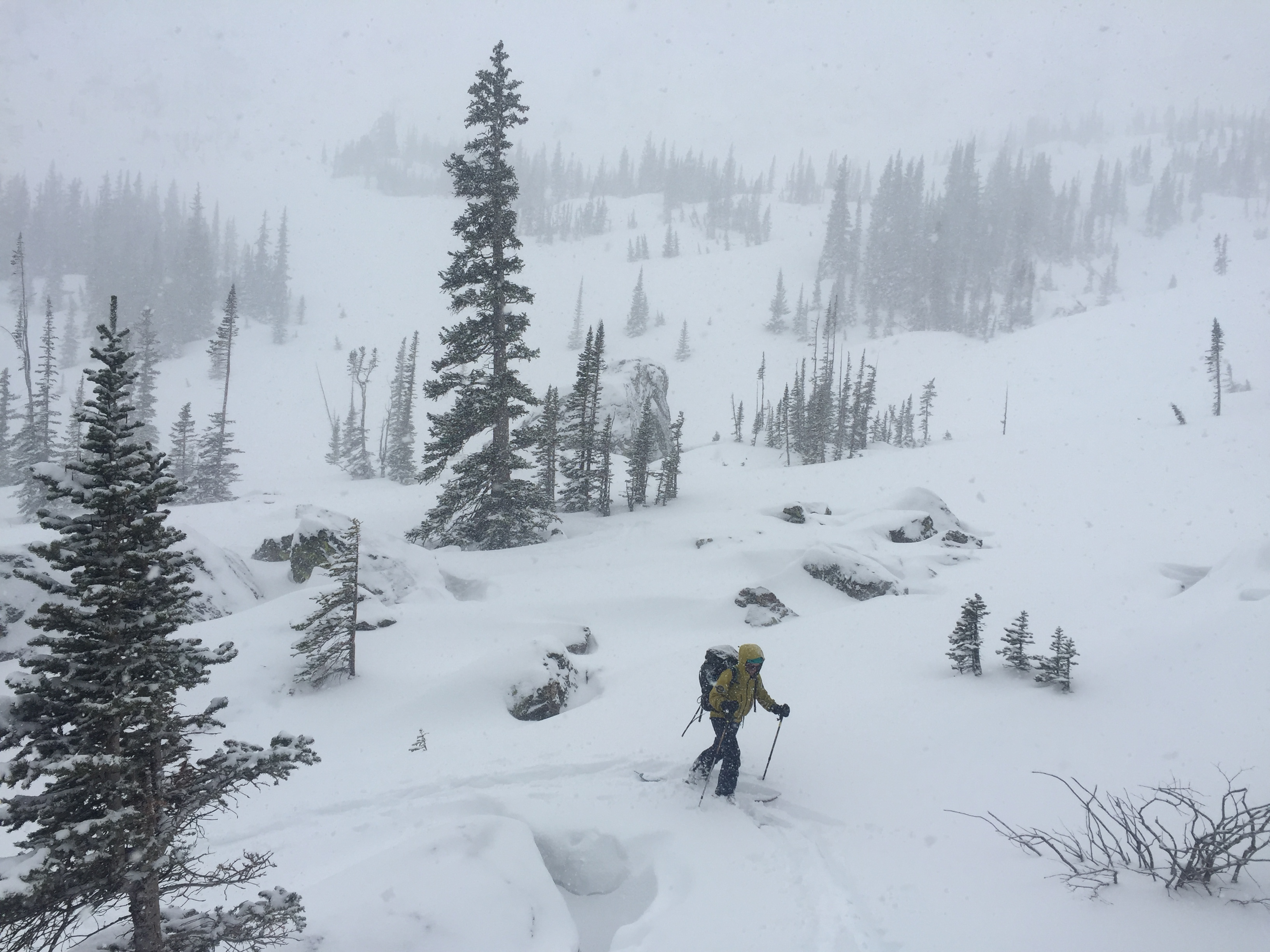 RMNP Search and Rescue Team Member conducts search operations in the Lake Haiyaha area.