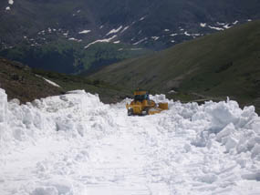 Photo Snow plowing on Old Fall River Road on July 27, 2011