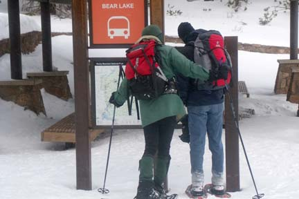 Snowshoers at Bear Lake Trailhead