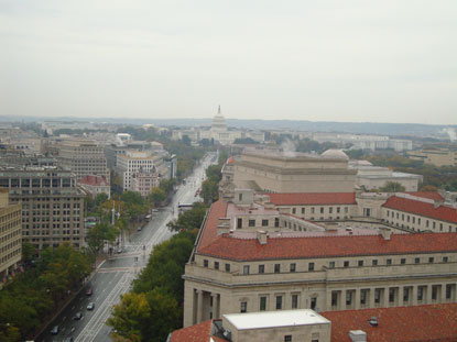 View from the Old Post Office Tower in downtown Washington DC.