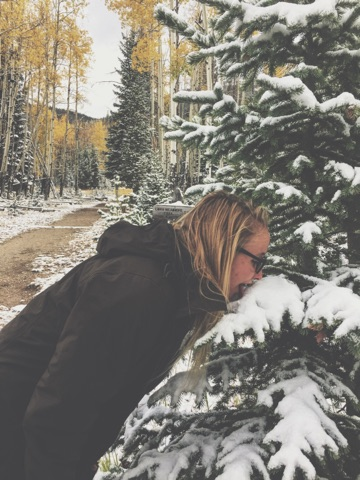 A woman stands with her face nearly touching a snow-laden tree branch with golden aspen in the background