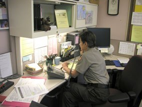 Ranger Diane working hard in the park's Information Office.