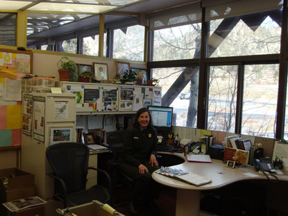 Ranger Katy staffing the Parks Information Office.