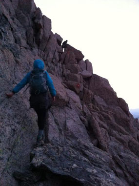 Climbing up the ledges along the Keyhole Route up to the Longs Peak summit.