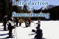 Photo ranger instructing visitors how to snowshoe on Introduction to Snowshoeing icon
