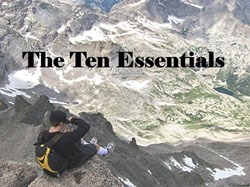 a photo of a hiker and the ten essentials podcast title