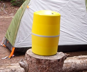 bear canister at a backcountry site