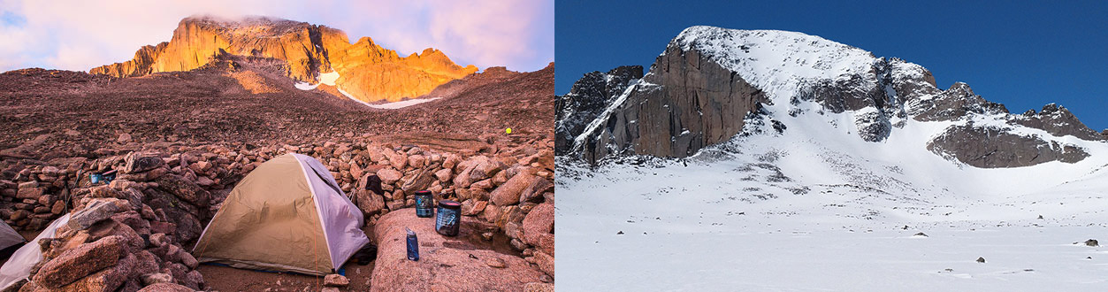 At left, a tent and campsite in rocks with a peak behind. On right, a field of windblown snow below the summit of Longs Peak.
