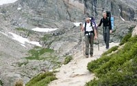 Hikers on an alpine trail