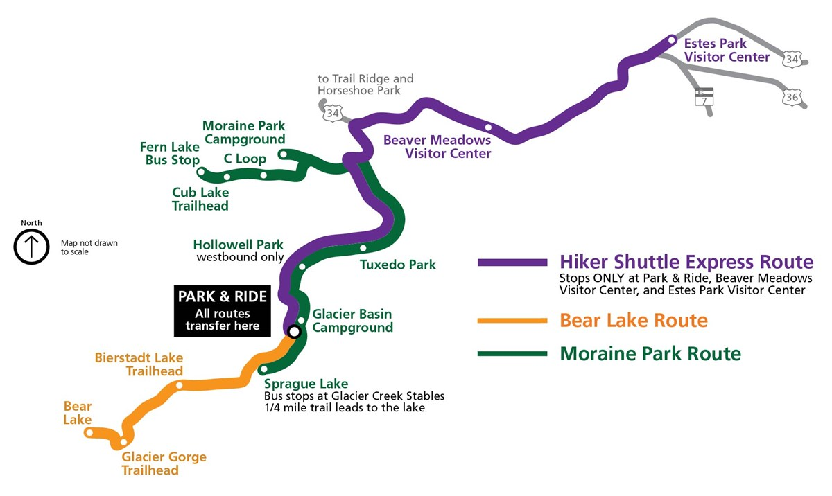 A map of shuttle bus routes in Rocky Mountain National Park for 2017.