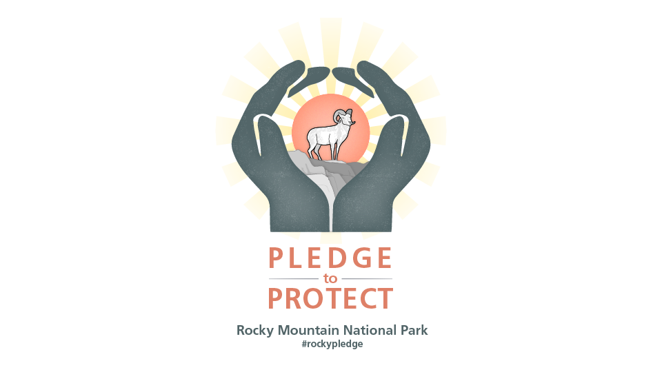 An illustrated logo. Two hands encircle a bighorn sheep standing on rocks. Behind, a glowing red sun radiates beams of golden light.